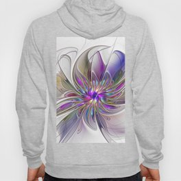 Energetic, Abstract And Colorful Fractal Art Flower Hoody
