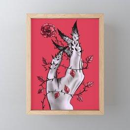 Creepy Deformed Hand With Rose And Thorns   Digital Art Framed Mini Art Print