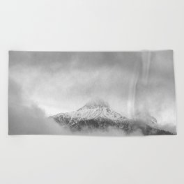 Peak in the clouds Beach Towel
