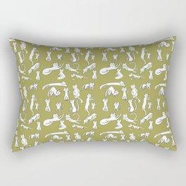 Kitten Love - Olive Green Rectangular Pillow