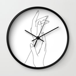 Hands line drawing illustration - Dia Wall Clock