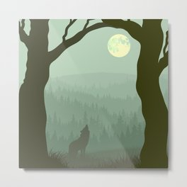 Wolf layer with moon Metal Print