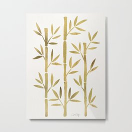 Bamboo Stems – Gold Palette Metal Print