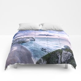 Natural Rock Arch -  ocean, coastal cliffs, waves, clouds, Comforters