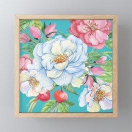 Elegant, Chic Floral Print on Eggshell Blue Framed Mini Art Print