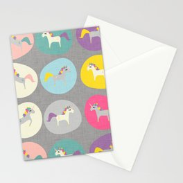 Cute Unicorn polka dots grey pastel colors and linen texture #homedecor #apparel #stationary #kids Stationery Cards