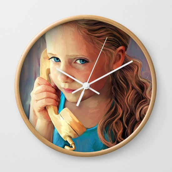 The Confidante - painting of a young girl on the phone Wall Clock