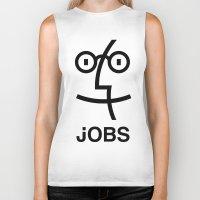 steve jobs Biker Tanks featuring JOBS by Mr. Pandastic