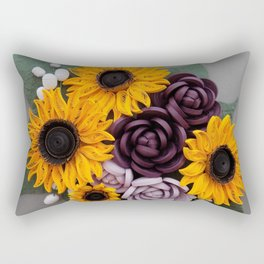 Sunflowers Roses Paper Quilled Flowers Rectangular Pillow