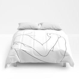 Crossed arms nude figure - Emie Comforters