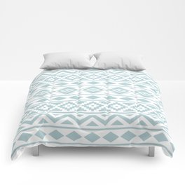 Aztec Essence Ptn III Duck Egg Blue on White Comforters