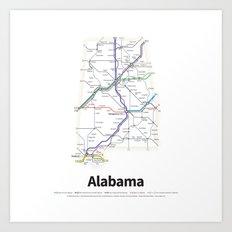 Highways of the USA – Alabama Art Print