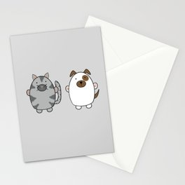 Cats and Dogs on grey Stationery Cards