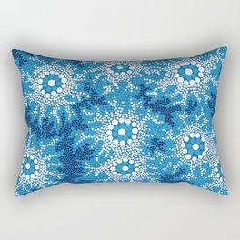 Authentic Aboriginal Art - Waterhole Dreaming Rectangular Pillow