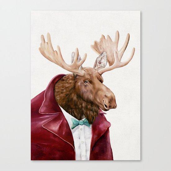 Moose in Maroon Canvas Print