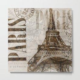 Vintage Paris eiffel tower illustration Metal Print