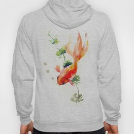 Goldfish, aquarium fish art, design watercolor fish painting Hoody