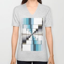 Retro Stripes Blue And Brown Unisex V-Neck