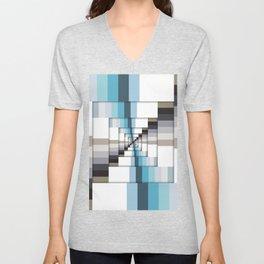 Retro Stripes Blue And Brown Unisex V-Neck
