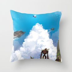 Flying Castle Throw Pillow