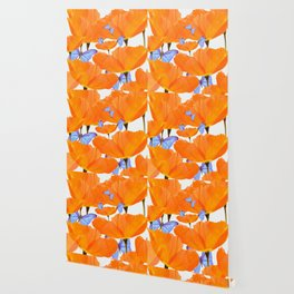 Poppies And Butterflies White Background #decor #society6 #buyart Wallpaper