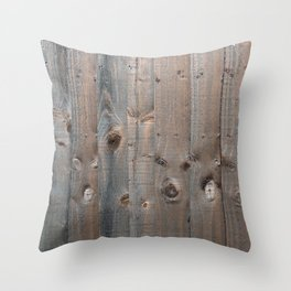 Brown Wooden Fence Throw Pillow