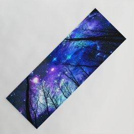 black trees purple blue space Yoga Mat