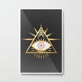 gold foil triangle evil eye Metal Print