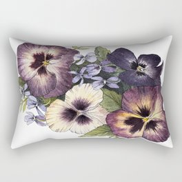 Watercolor Pansy Bouquet Rectangular Pillow
