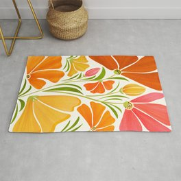 Spring Wildflowers / Floral Illustration Rug