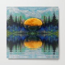 SURREAL RISING GOLDEN MOON BLUE REFLECTIONS Metal Print