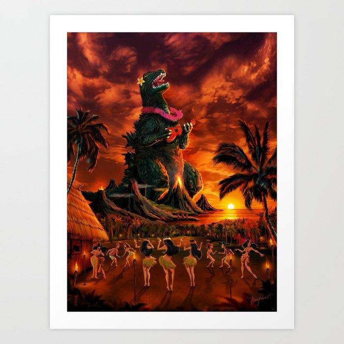 Rocking the Island - Tiki Art Hula Godzilla Kunstdrucke