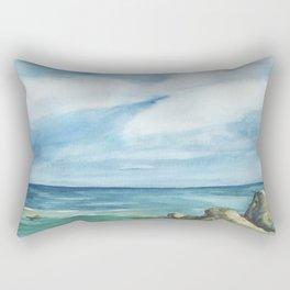 2019 Watercolor Sea Scape Series 002 Watercolor Painting Rectangular Pillow