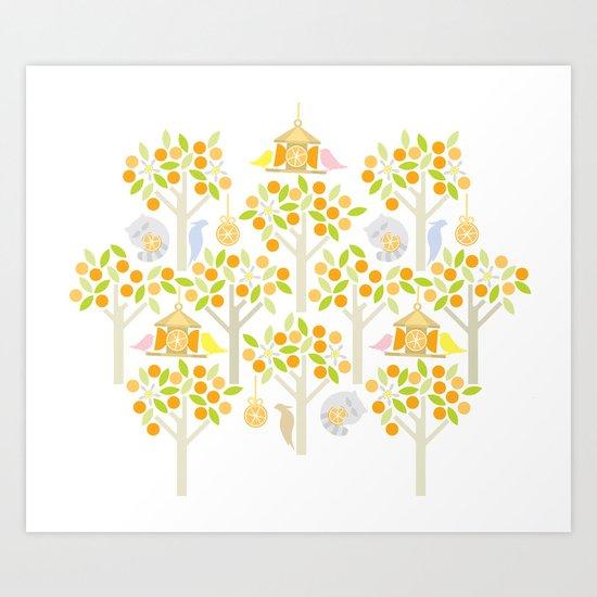 Birds And Oranges Art Print