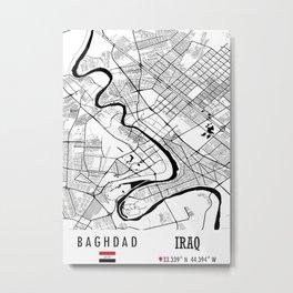 Baghdad, IRAQ Road Map Art - Earth Tones Metal Print