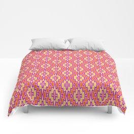 Bohemian Diamond Pattern in Orange, Hot Pink and Yellow Comforters