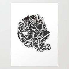 Skull Moustache Art Print