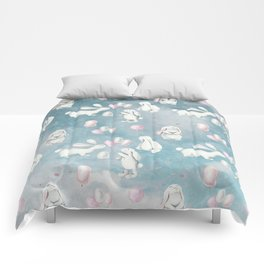 Bunnies Bunny in heaven-Cute Animal illustration pattern Comforters