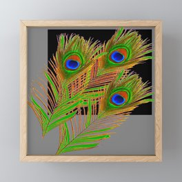 MODERN ART GREEN-BLUE PEACOCK FEATHER PATTERN Framed Mini Art Print