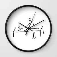 the cure Wall Clocks featuring cure massage by Lineamentum