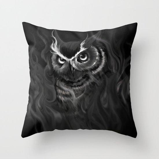 Owl Aflame Throw Pillow