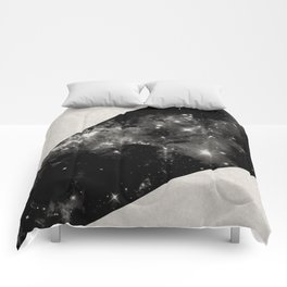 Expanding Universe - Abstract, black and white space themed design Comforters