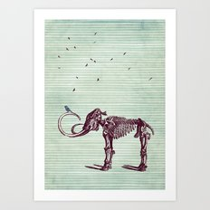 Mammoth and the birds Art Print