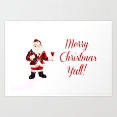 Merry Christmas Y'all Santa Art Print