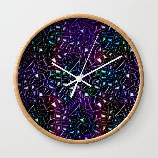 Midnight Rainbow Glitter Wall Clock