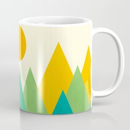 Modern Abstract Fresh Geometric Mountain Landscape with Rising Sun in Yellow, Green and Blue Colors, Retro Mountains Print Coffee Mug
