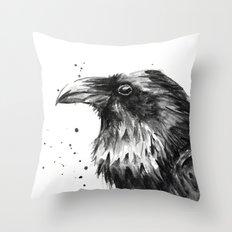 Raven Watercolor Bird Animal Throw Pillow