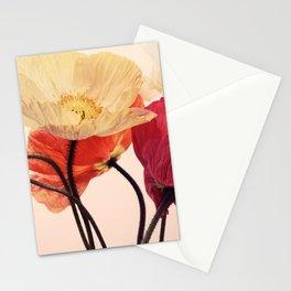 Posing Poppies - bright, vintage toned poppy still life Stationery Cards