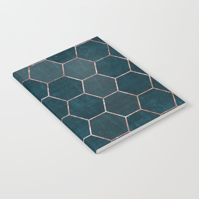 honeycomb pattern // rosegold & teal Notebook