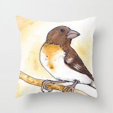 Yellow Rose-breasted Grosbeak Throw Pillow